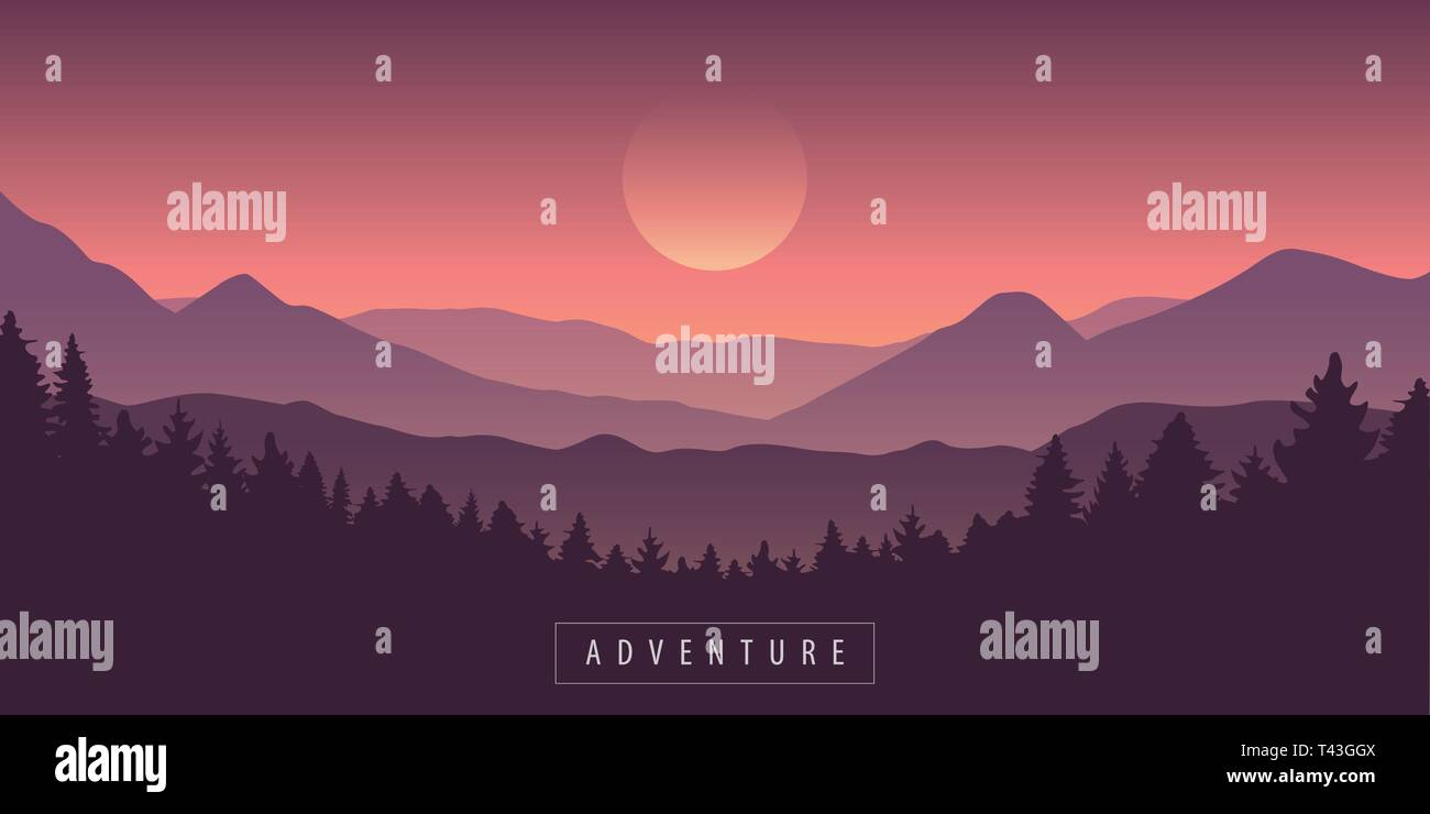 adventure mountain and forest purple landscape vector illustration EPS10 Stock Vector