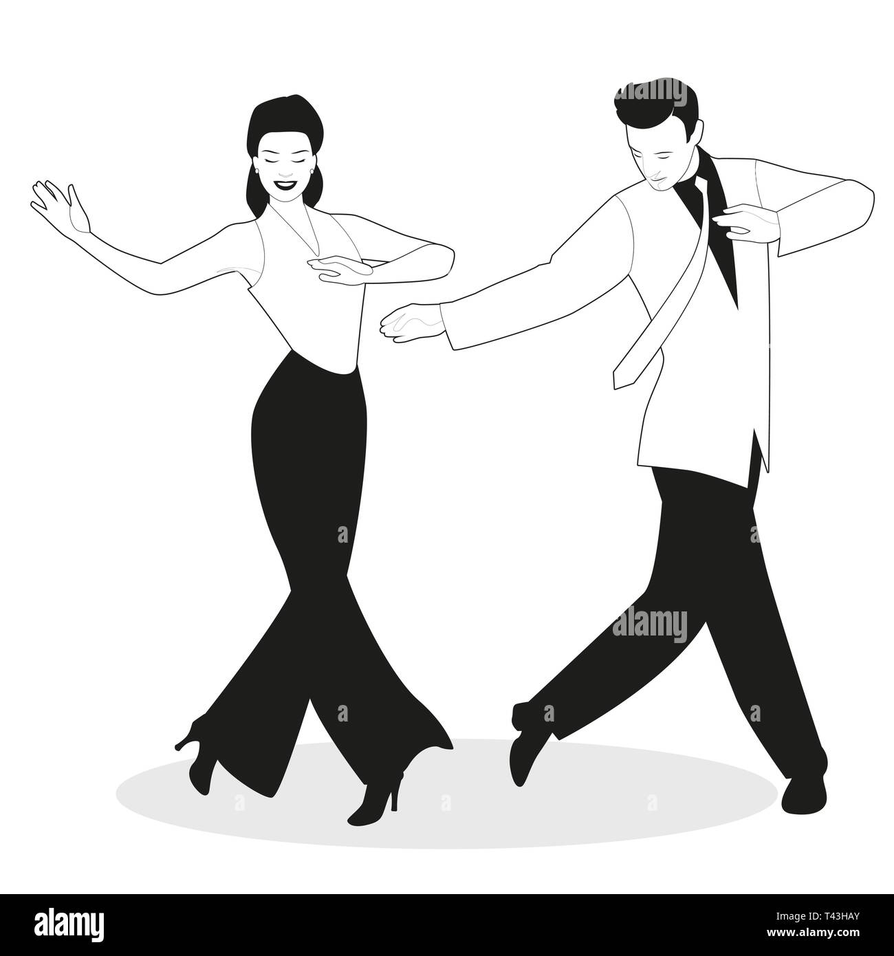 Young couple dressed in retro clothes, dancing tap, swing or
