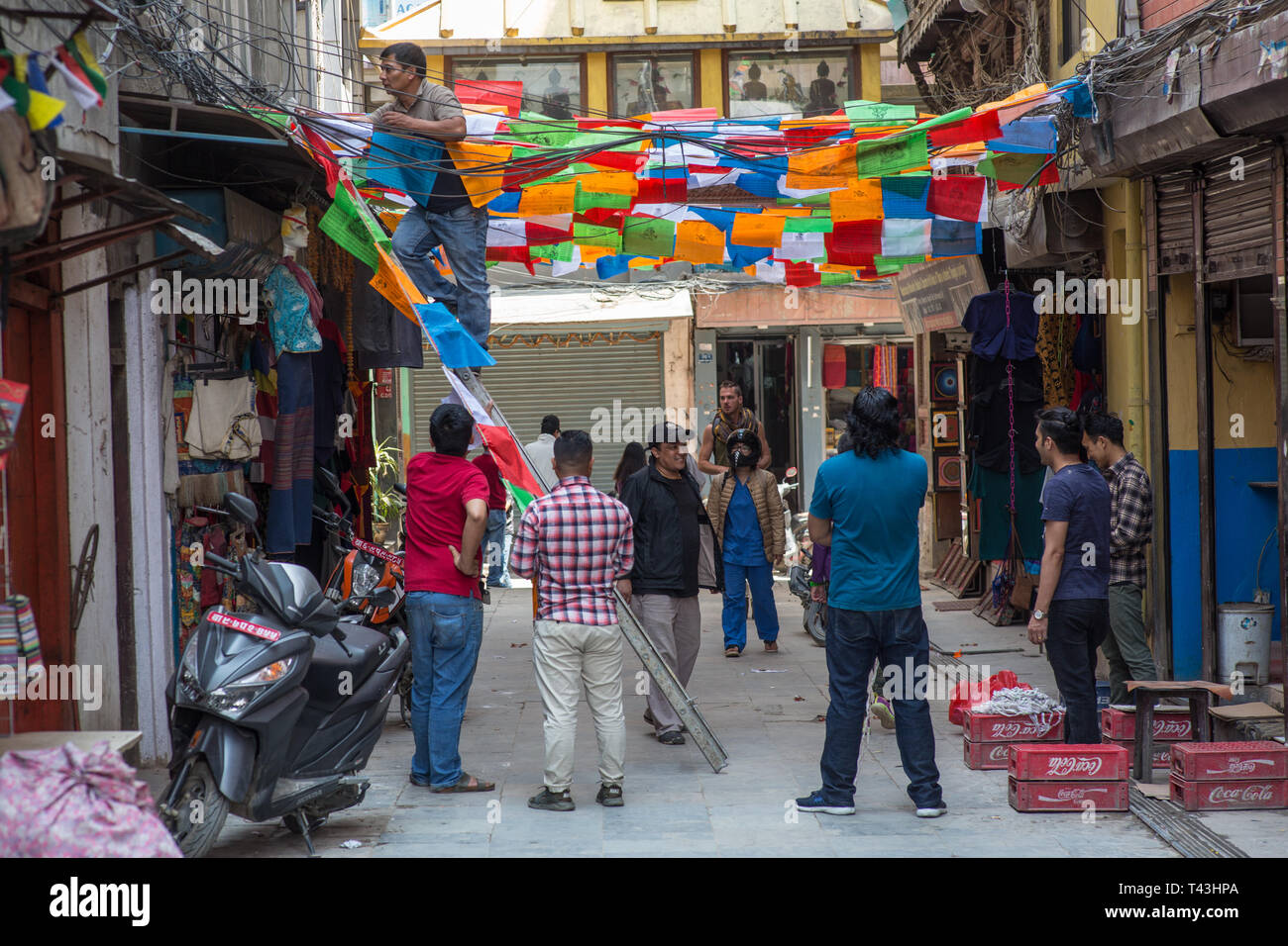Preparations for the Nepalese New Year of 2076 - Stock Image