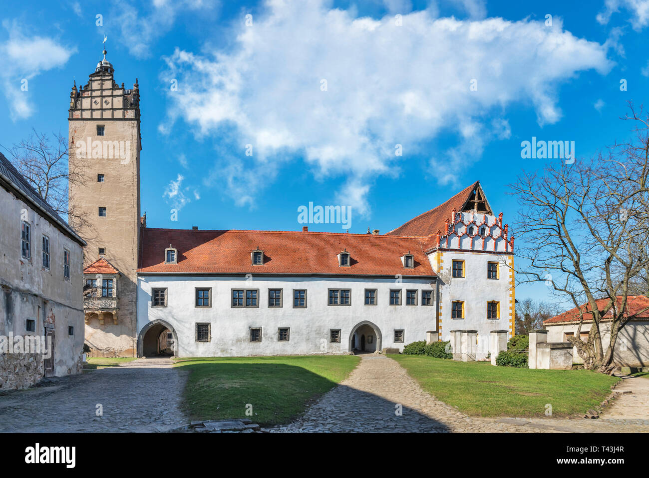 The Castle Strehla is a castle in the town Strehla, administrative district Meissen, Saxony, Germany, Europe - Stock Image