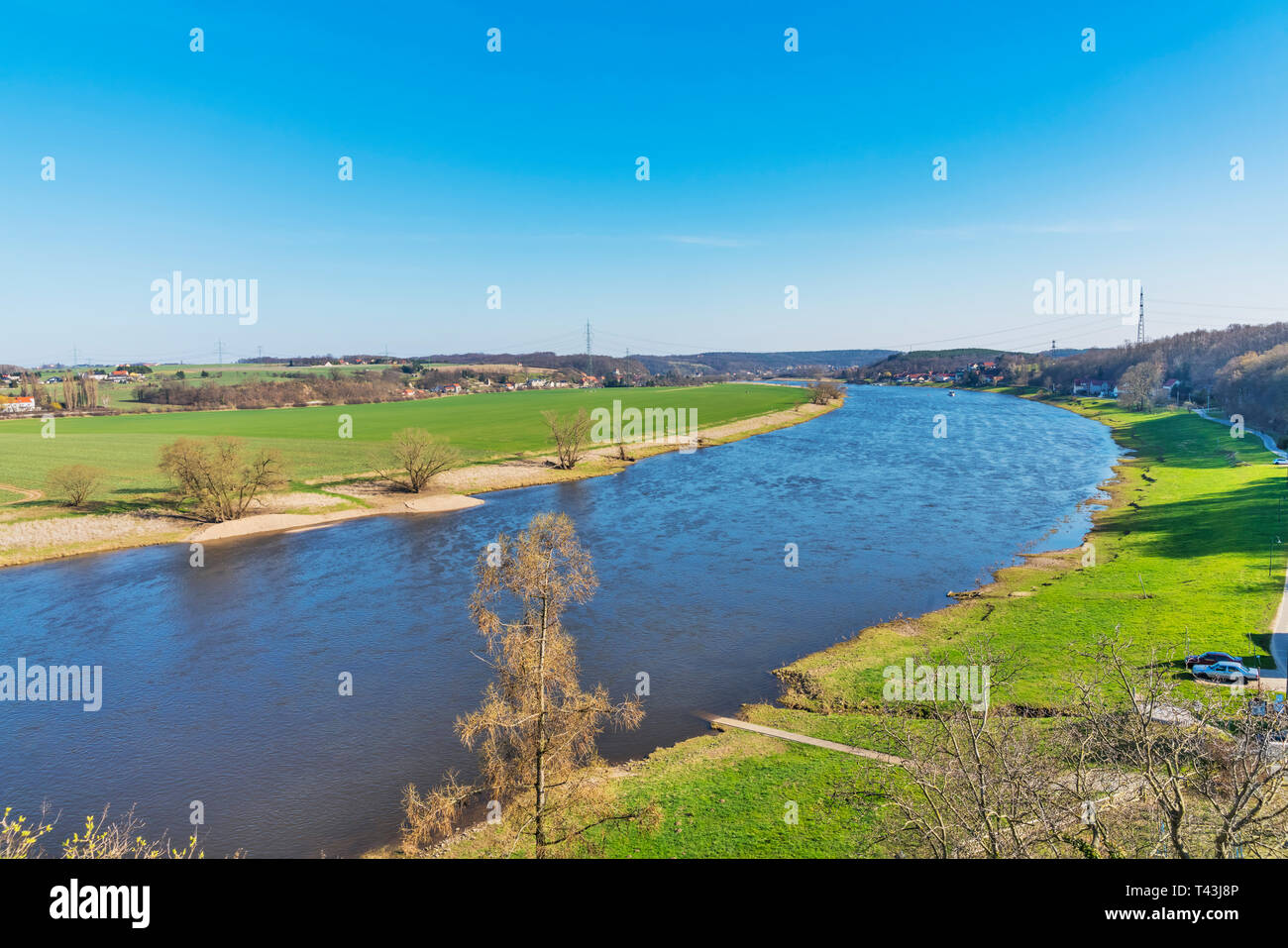 The river Elbe in spring in the district of Meissen, Saxony, Germany, Europe - Stock Image
