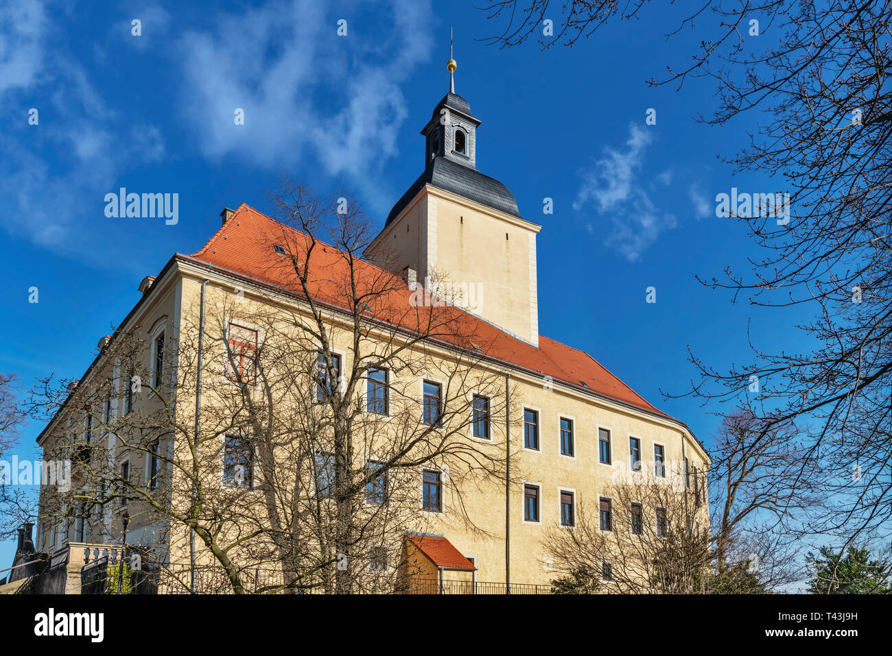 The Castle Hirschstein is a castle in the municipality Hirschstein, administrative district Meissen, Saxony, Germany, Europe - Stock Image