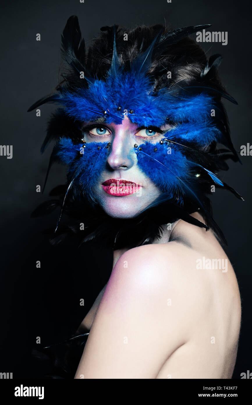 Bird Halloween Makeup.Halloween Makeup Woman Bird Character Makeup Portrait Stock Photo Alamy