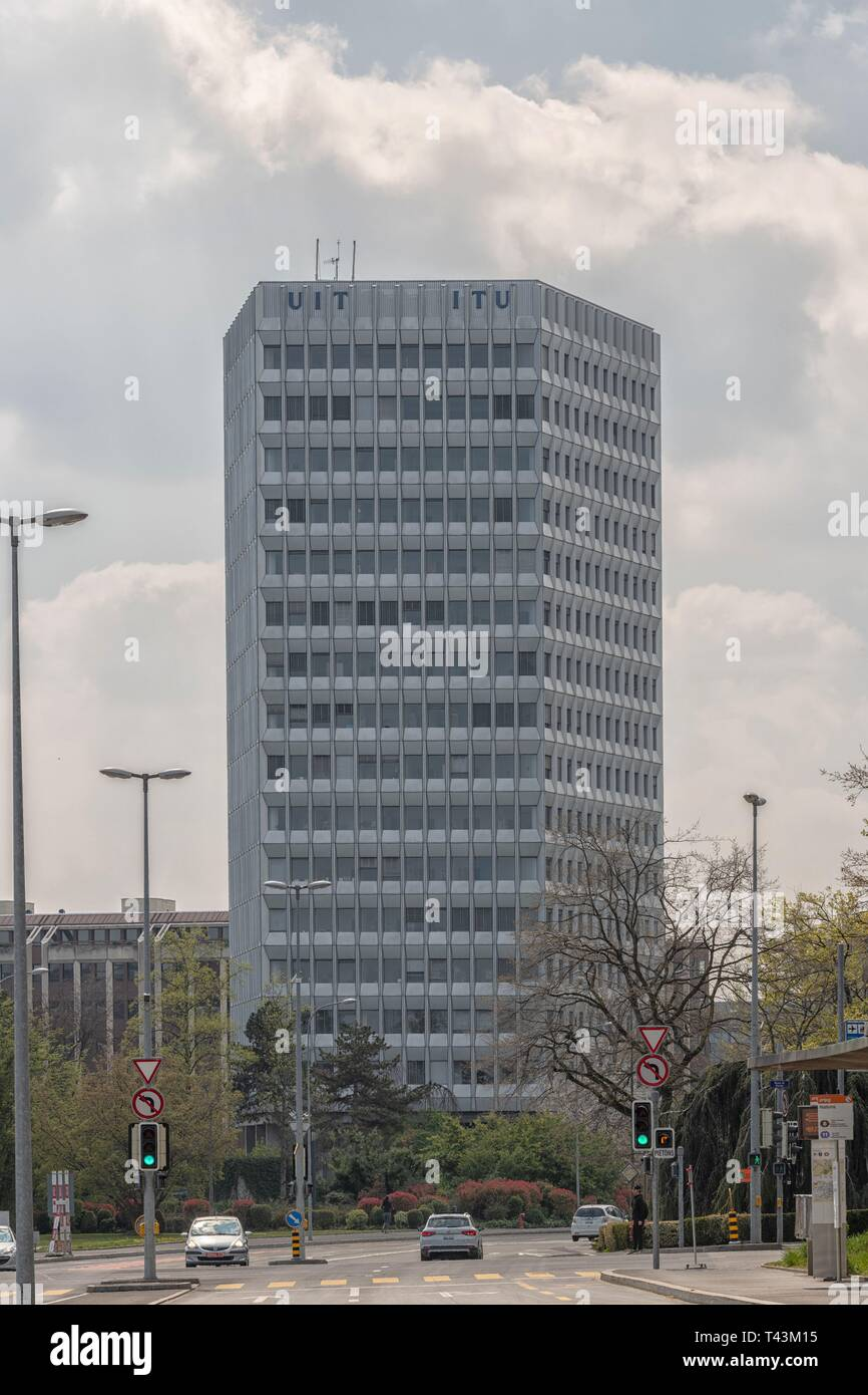 The ITU building in Geneva, Switzerland at the United Nations in Geneva, Switzerland. International Telecommunication Union. UIT - Stock Image