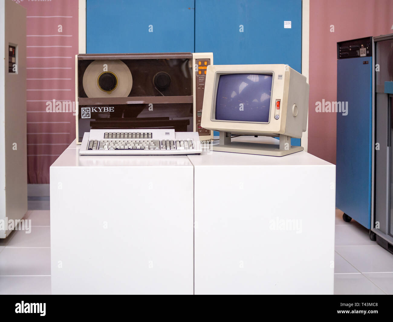 TERRASSA, SPAIN-MARCH 19, 2019: KYBE MLC-400 Model 440 Magnetic Tape Cleaner in the National Museum of Science and Technology of Catalonia - Stock Image