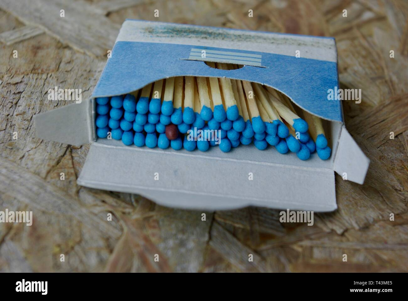Standing out from the crowd. Close-up of a box of matches with one brown. Meaning of individuality, minority, racism, hospitality, gender equality, di - Stock Image
