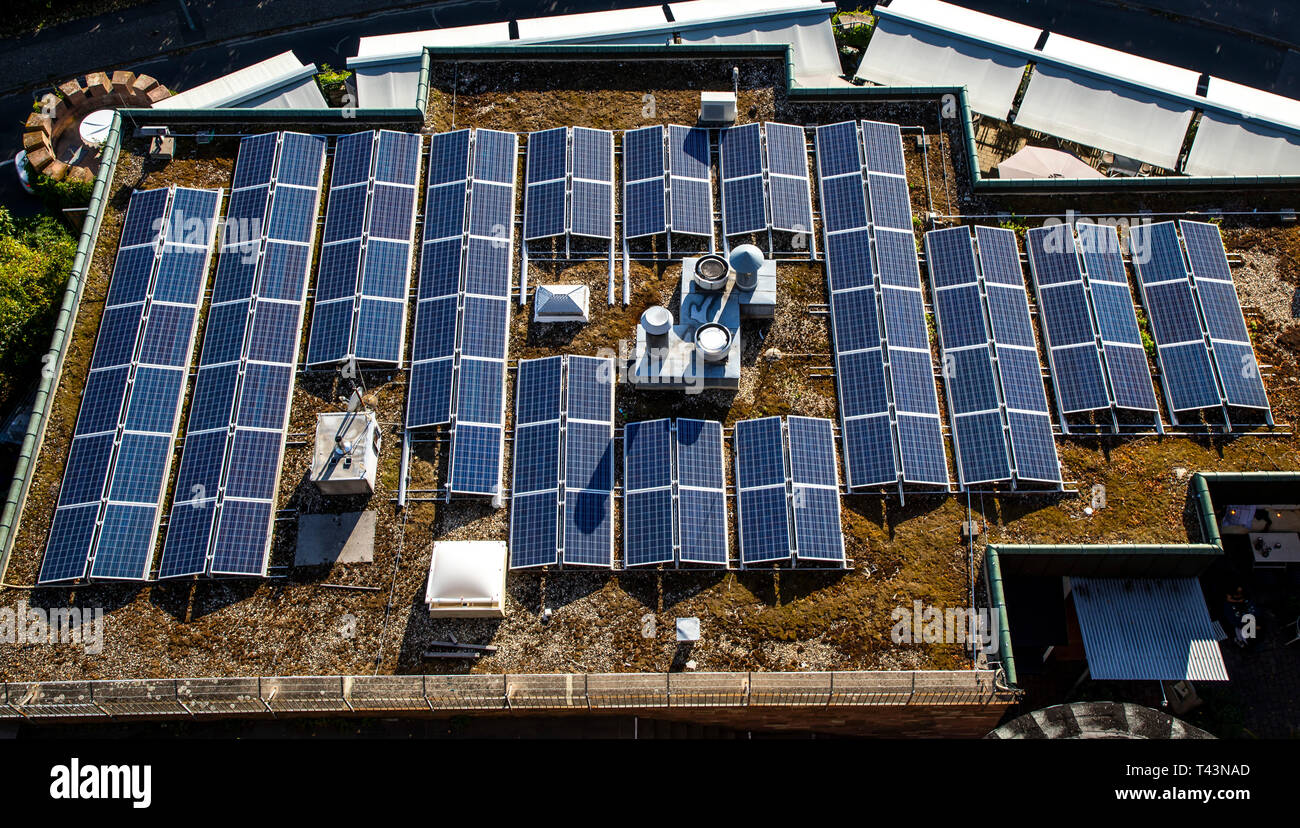 Solar systems, photovoltaic modules, on a flat roof, solar energy, - Stock Image
