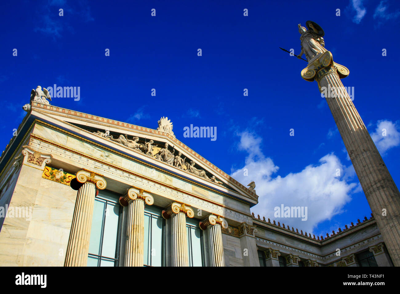 View of the neoclassic Academy of Athens, Greece, Europe - Stock Image