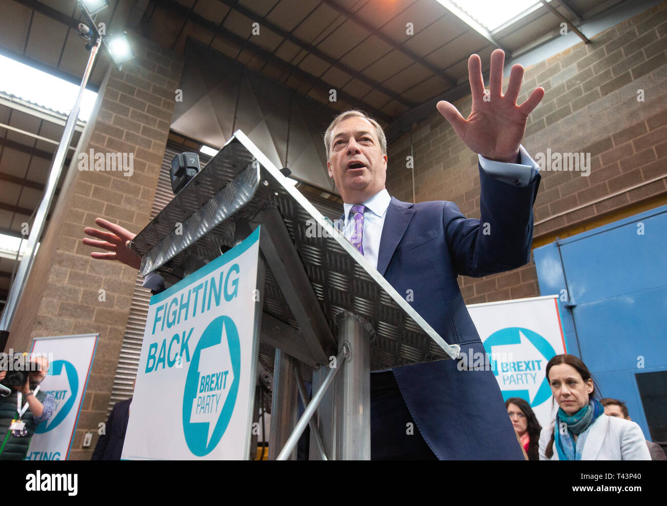 Nigel Farage, Party Leader of the newly-Formed Brexit Party, officially launches the Party at a metal factory in Coventry. Stock Photo