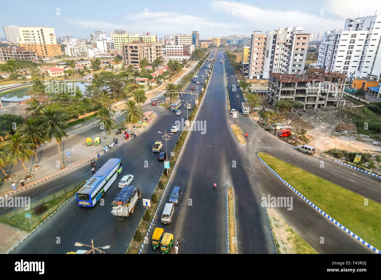 Aerial view of city architecture with buildings and high rises along with city roads with traffic at Kolkata India. - Stock Image