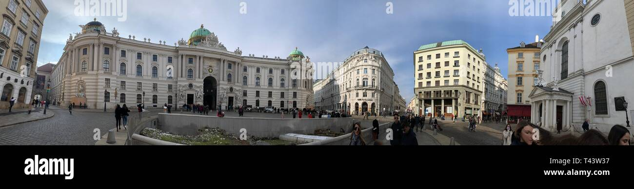 Hofburg facade in vienna, The Hofburg is the former principal imperial palace of the Habsburg dynasty rulers and today serves as the official residenc - Stock Image