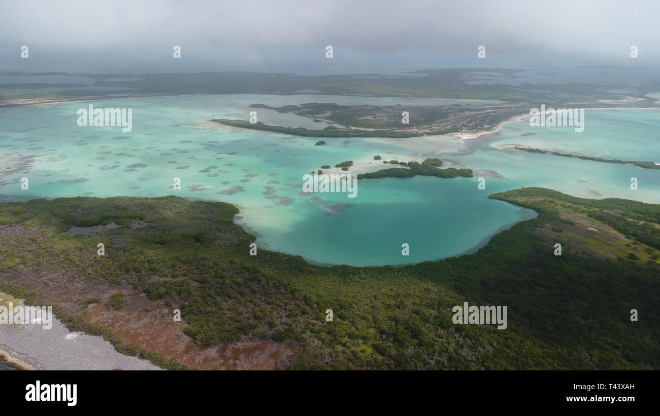 aerial view sebastopol barrier reef los roques venezuela - Stock Image