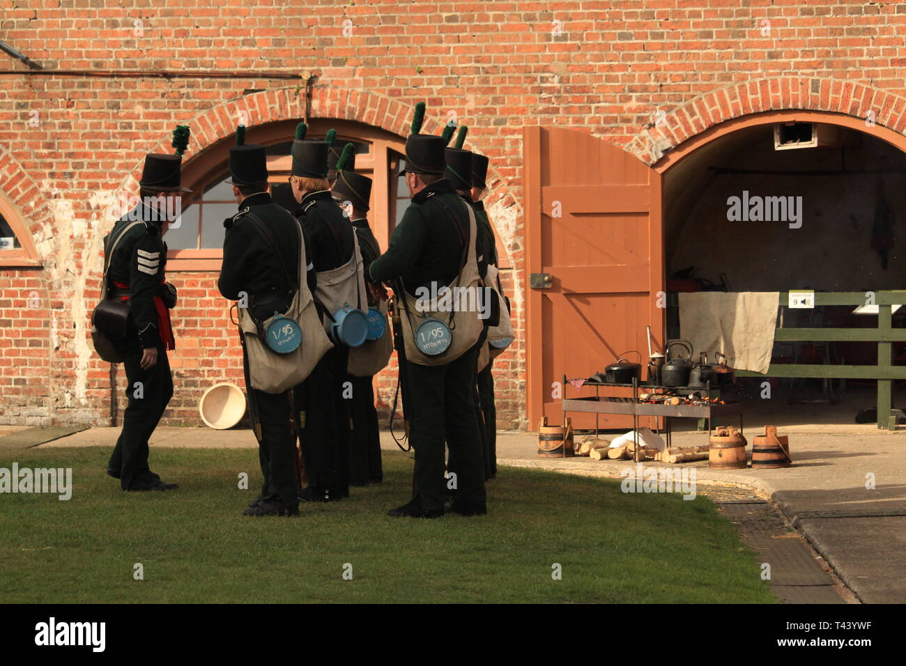 Re-enactment staged by the 95th Riflemen (Napoleonic era) Living History Society in Essex, UK. - Stock Image