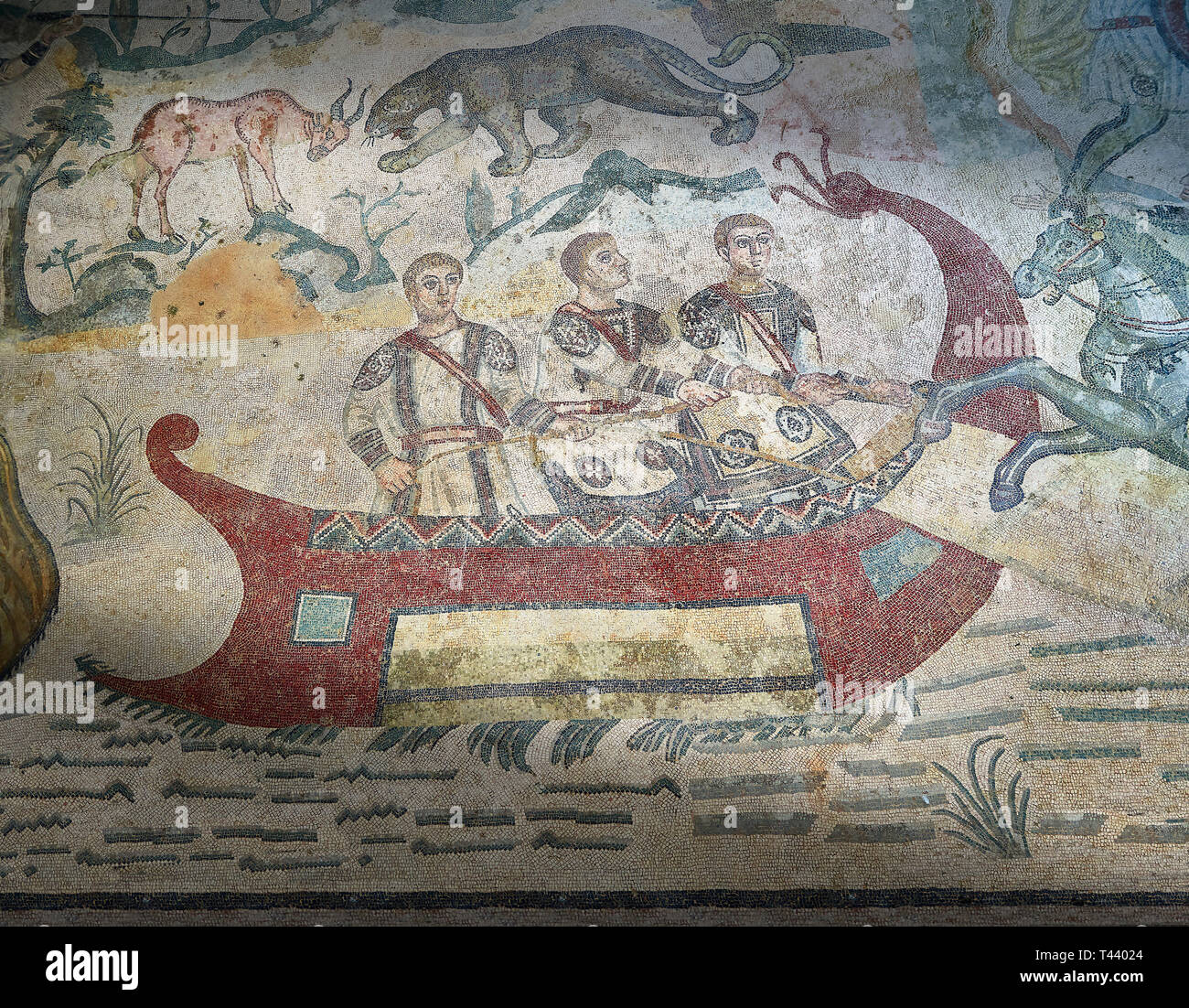 Fishermen Roman mosaic, room 24, at the Villa Romana del Casale, Sicily ,  circa the first quarter of the 4th century AD. Sicily, Italy. A UNESCO Worl - Stock Image