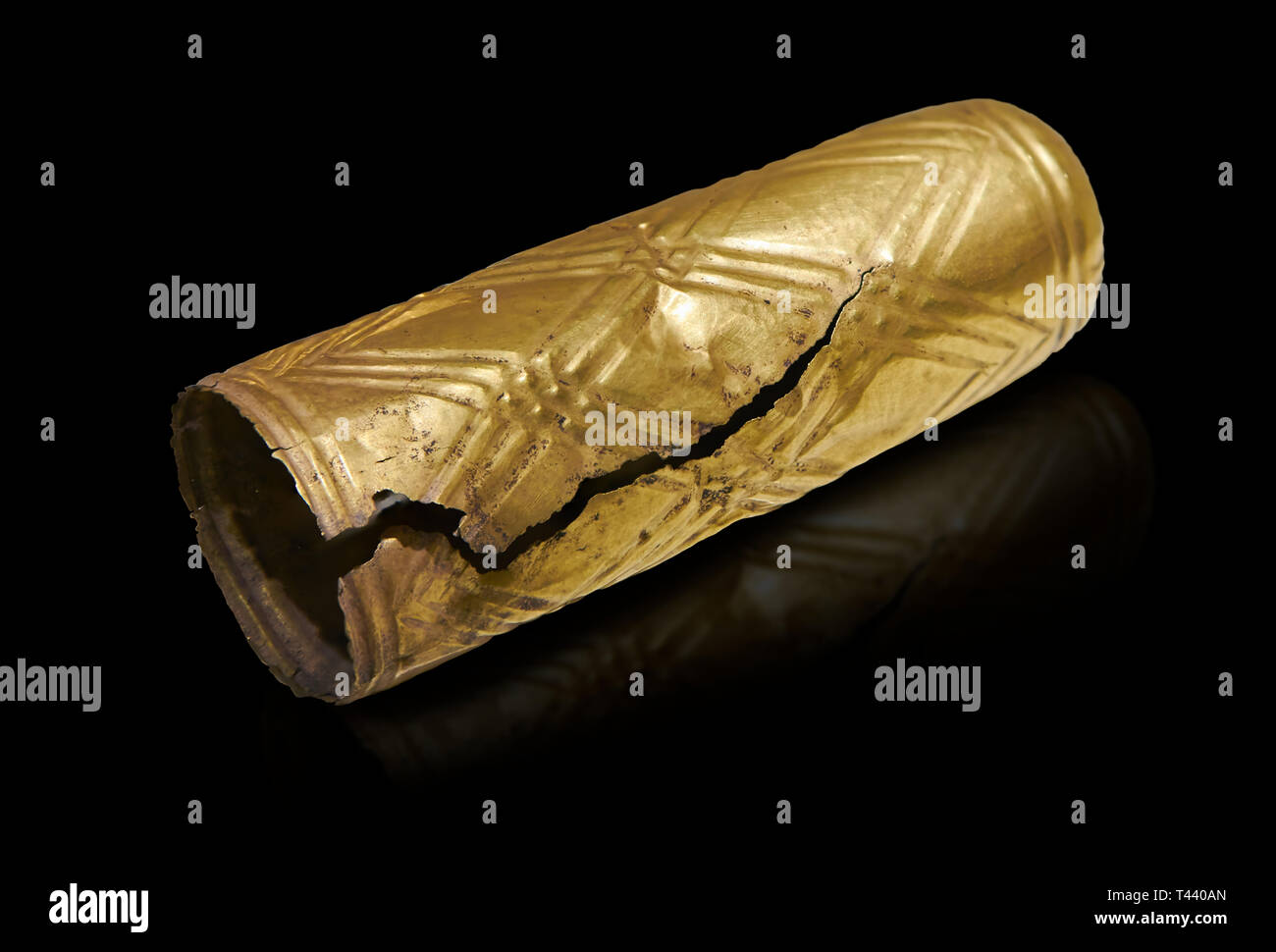 Bronze Age Hattian gold furniture covering  from a possible Bronze Age Royal grave (2500 BC to 2250 BC) - Alacahoyuk - Museum of Anatolian Civilisatio - Stock Image