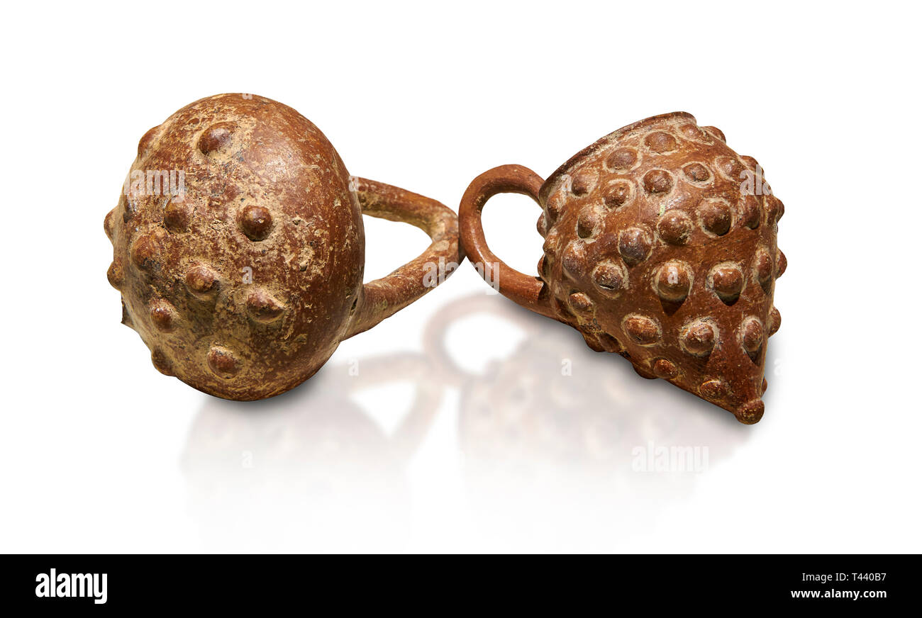 Bronze Age Anatolian terra cotta basket with handle & a beaker shaped as a bunch of grapes - 19th to 17th century BC - Kültepe Kanesh - Museum of Anat - Stock Image
