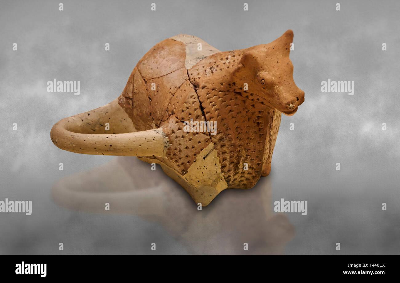 Hittite terra cotta ceremonial libation rhython in the shape of a bull. Hittite Period, 1600 - 1200 BC.  Hattusa Boğazkale. Çorum Archaeological Muse - Stock Image