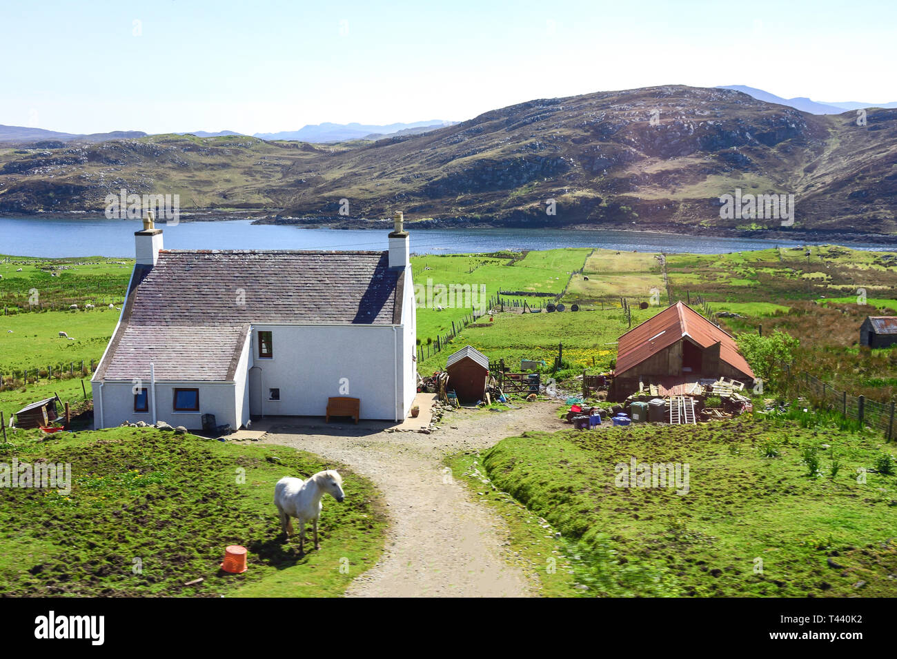 Small farmhouse in central Lewis, Isle of Lewis, Outer Hebrides, Na h-Eileanan Siar, Scotland, United Kingdom - Stock Image
