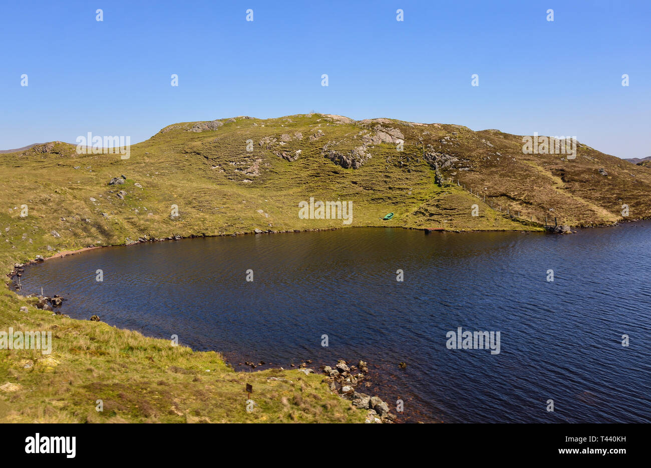 The Machair landscape in central Harris, Isle of Harris, Outer Hebrides, Na h-Eileanan Siar, Scotland, United Kingdom - Stock Image