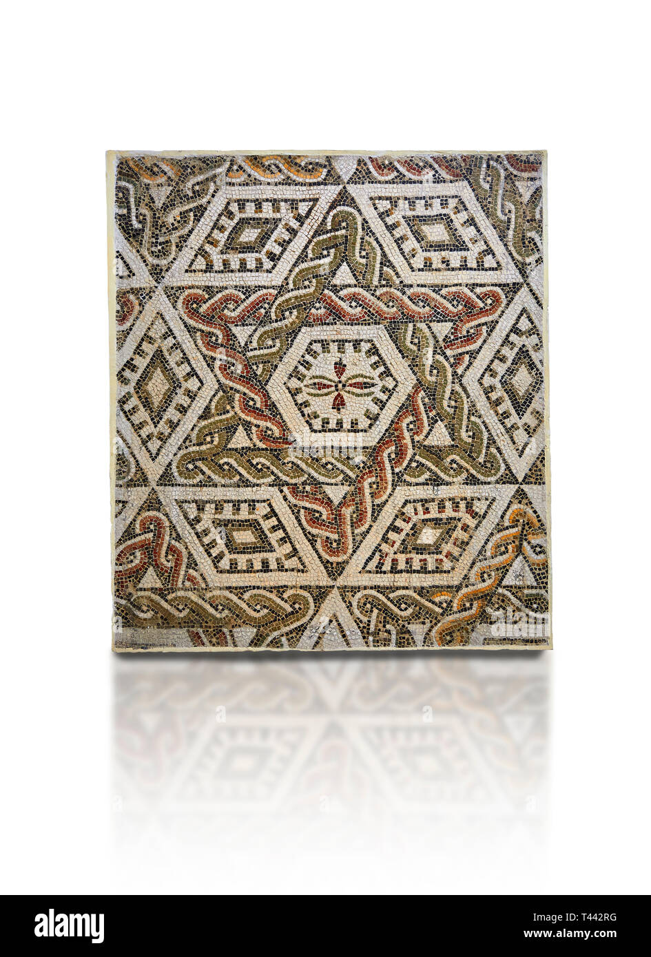 Pictures of a geometric Roman mosaics with a hexagon at its centre in the middle of which is a cruciform of flowers, from the ancient Roman city of Th - Stock Image