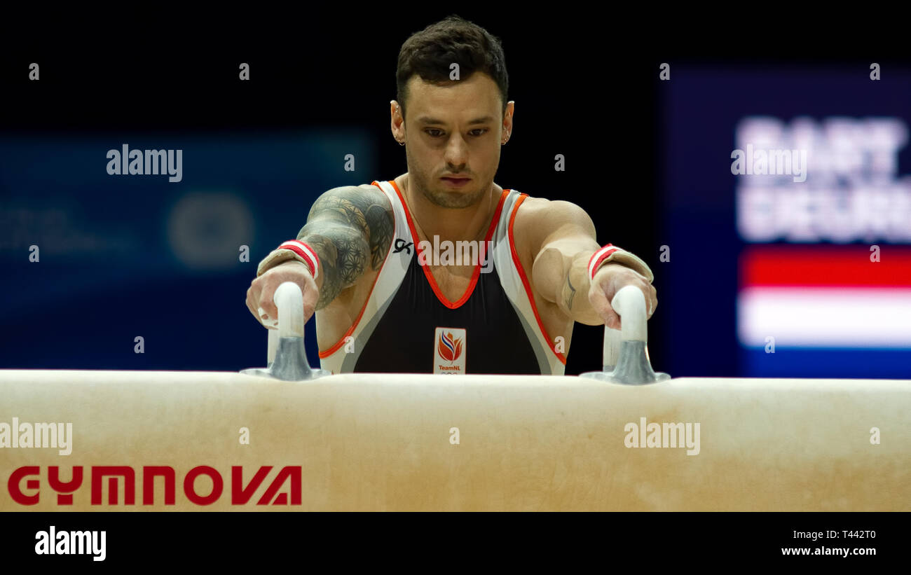 Birmingham, England, UK. 23 March, 2019. The Netherlands' Bart Deurloo preparing to perform in the men's pommel horse competition, during the 2019 Gym - Stock Image