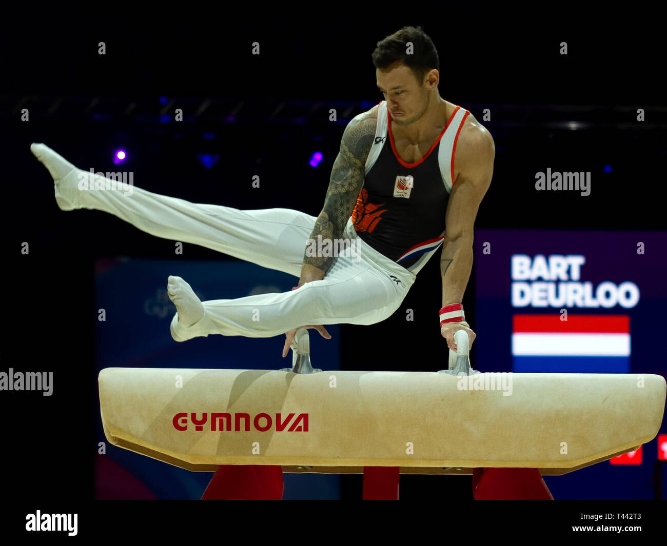 Birmingham, England, UK. 23 March, 2019. The Netherlands' Bart Deurloo in action during the men's pommel horse competition, during the 2019 Gymnastics - Stock Image