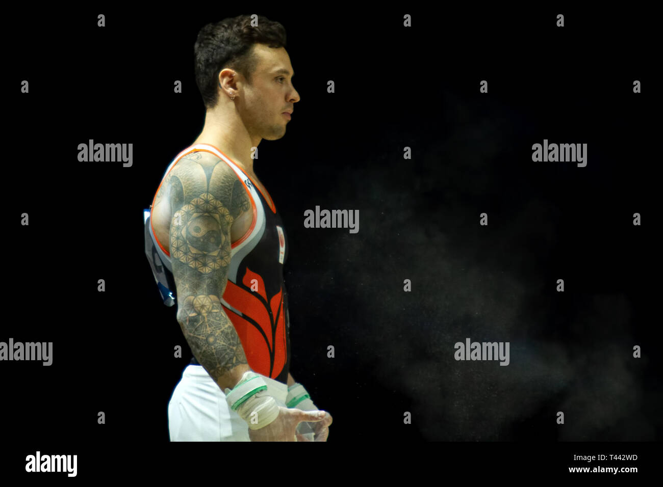 Birmingham, England, UK. 23 March, 2019. The Netherlands' Bart Deurloo before performing in the men's horizontal bar competition, during the 2019 Gymn - Stock Image