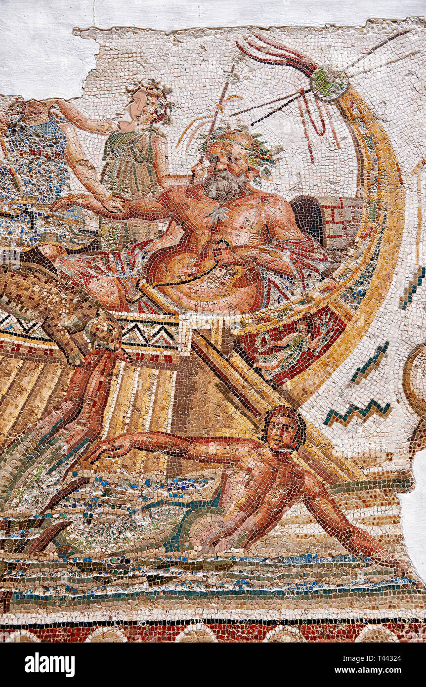 Roman mosaic depicting Dionysus repelling pirates from his ship.  He is accompanied by Acoetes, the helmsman and his tutor Silenus, right. Dionysus, i - Stock Image
