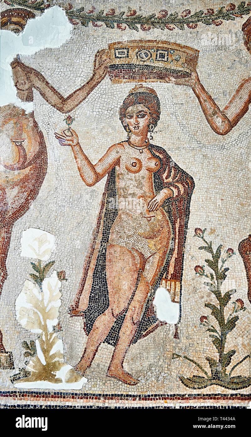 4th century Roman mosaic panel of the Goddess Venus from Ulules (Elles), Tunisia. Venus of Aphrodite is accompanied by 2 female centaurs, half women h - Stock Image