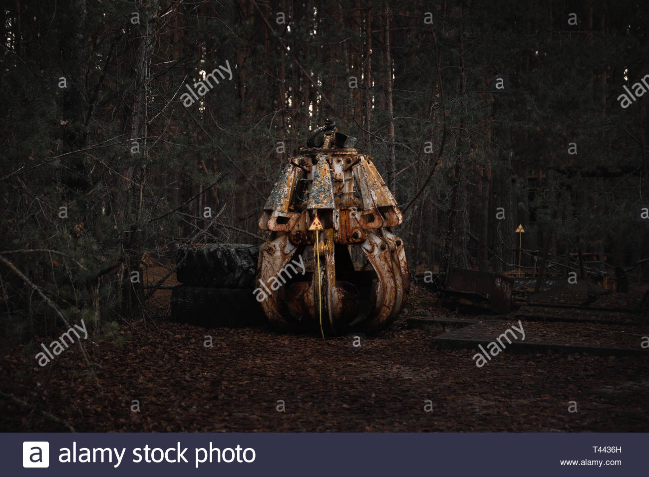 The highly contaminated Claw, machine part in Chernobyl Exclusion Zone, 2019 closeup - Stock Image