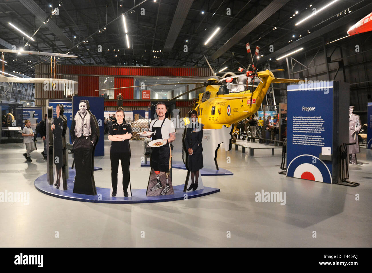 Display about RAF roles and people at the RAF Museum, London, UK Stock Photo
