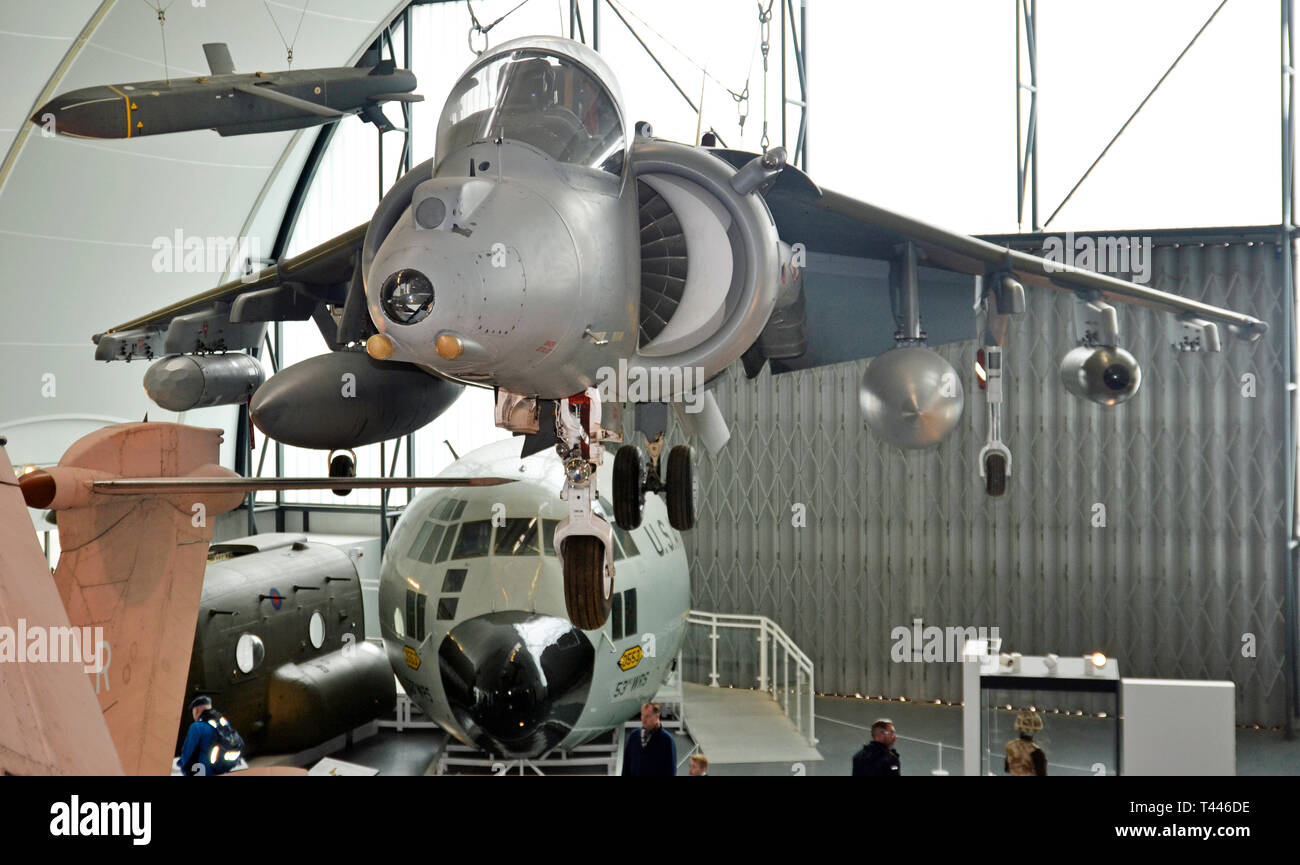 View of war planes inside the RAF Museum, London, UK Stock Photo