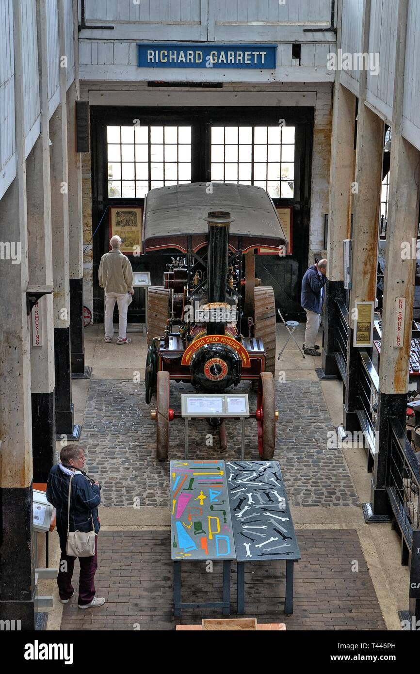 View from the gallery, including the Princess Marina Tractor from 1916, at the Long Shop Museum, Leiston, Suffolk, UK Stock Photo