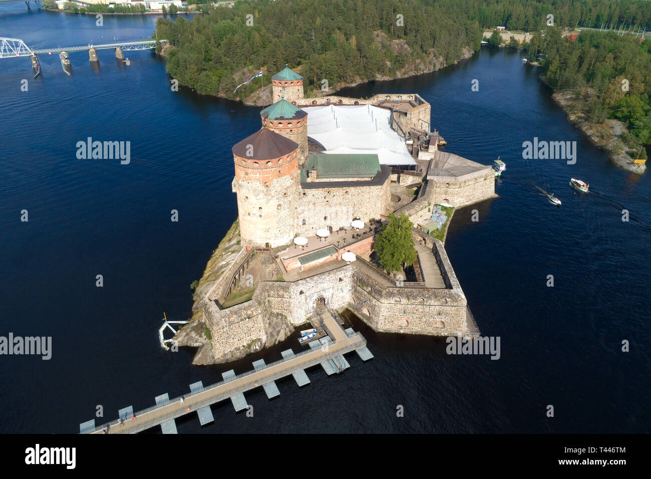 The ancient fortress of Olavinlinna on a sunny July day (aerial photography). Savonlinna, Finland - Stock Image
