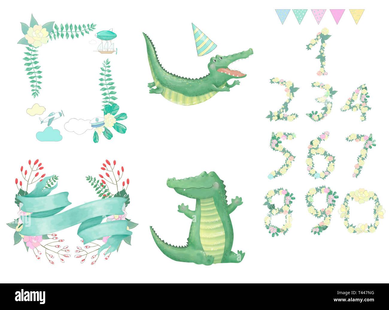 crocodile digital clip art cute animal drawing - Stock Image