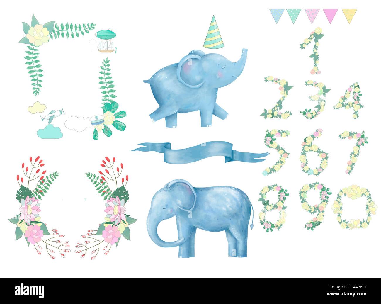 Elephant clip art digital animal drawing watercolor - Stock Image