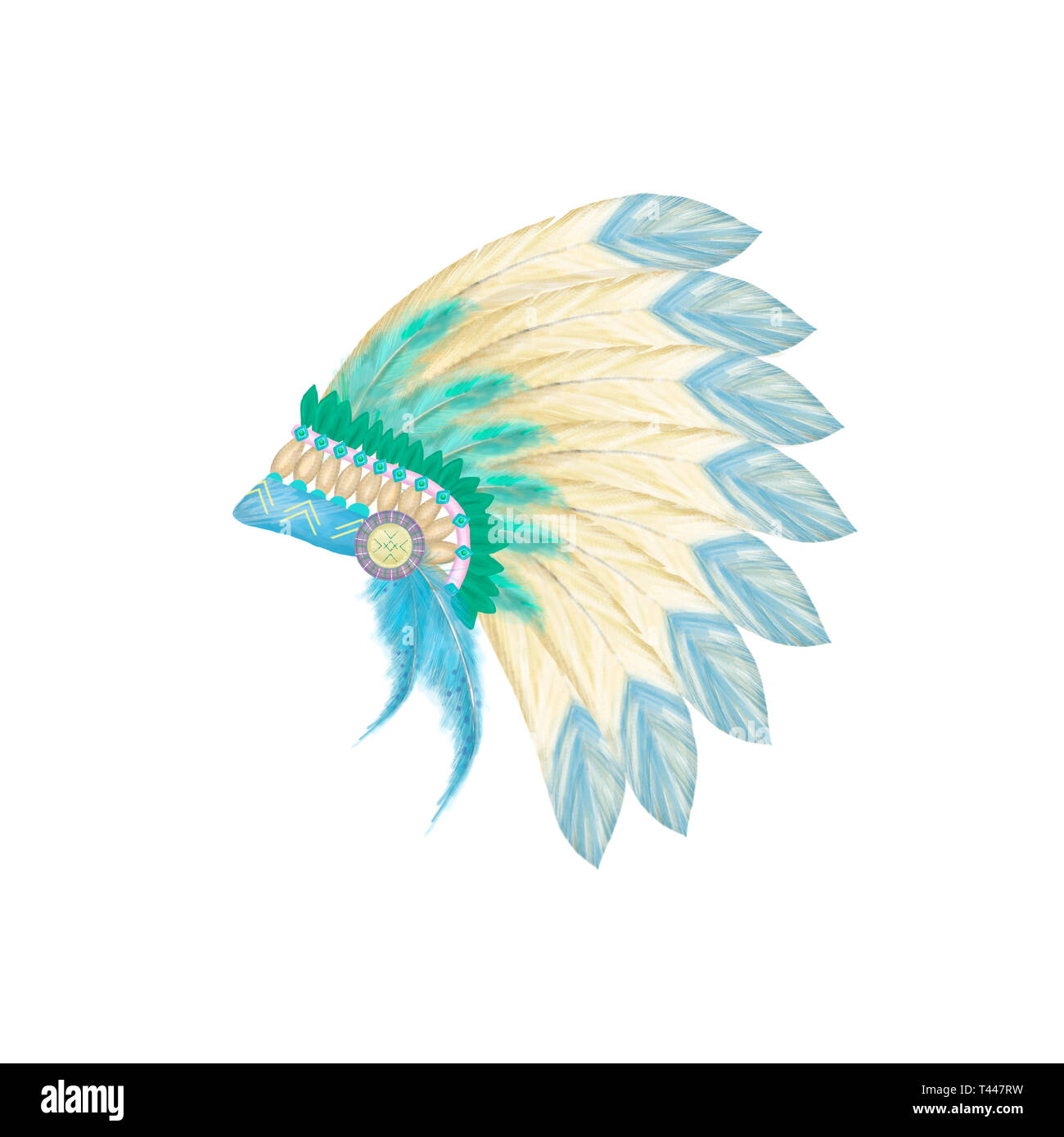 Headdress indian hat digital clip art illustration - Stock Image