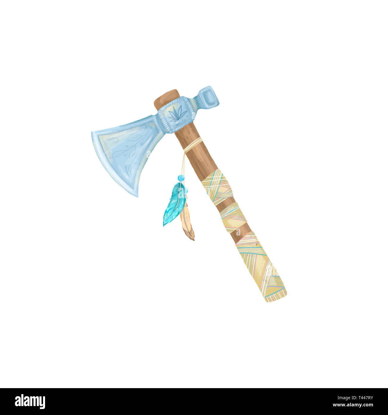 Axe indian digital art illustration axe with fethers amulet tribal weapon geometric white background - Stock Image