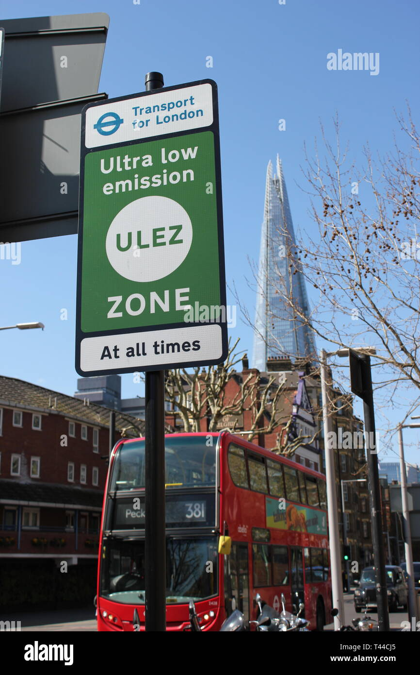 ULEZ London, UK - April 2019: ULEZ (Ultra low emission zone) London Ultra Low Emission Zone (ULEZ)  sign central London. ULEZ, £12.50 stock photo - Stock Image