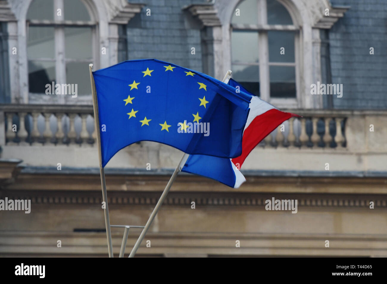 European and French flags, European union, Brexit, Council - Stock Image