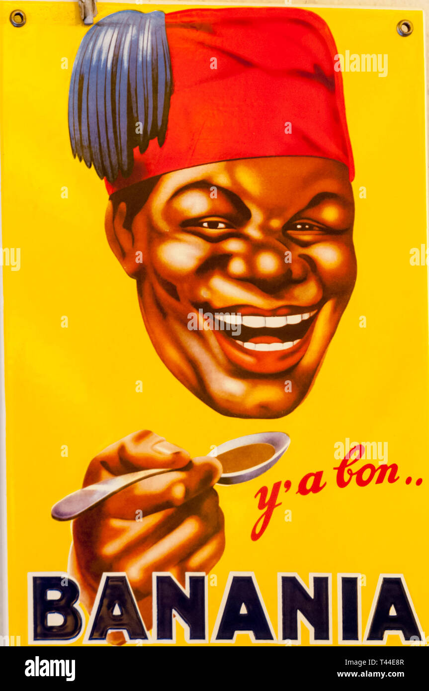 An advertisement for the French chocolate drink Banania, featuring a Senagalese infantryman, has been described by some as racist and colonialist. - Stock Image