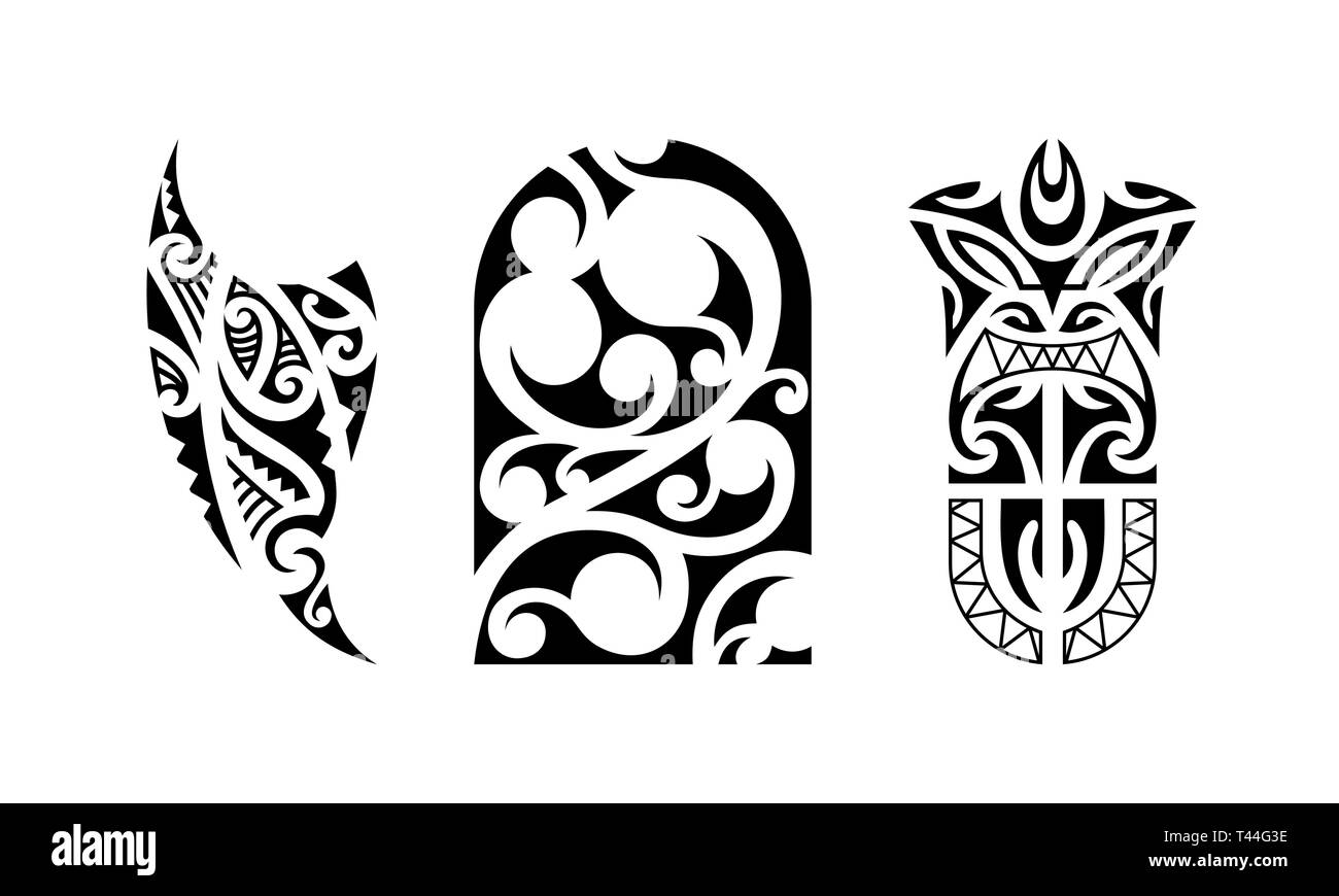 Set Of Polynesian Tattoo Traditional Maori Tribal Ornaments Vector