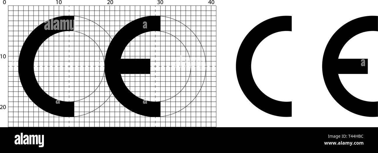 CE marking (short for Conformite Europeenne) symbol. Correct dimensions as per official construction sheet. - Stock Image