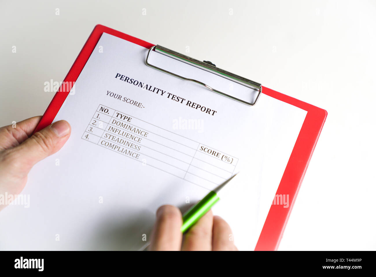 Personality test or assessment form as part of job interview screening process. An employment or hiring concept - Stock Image