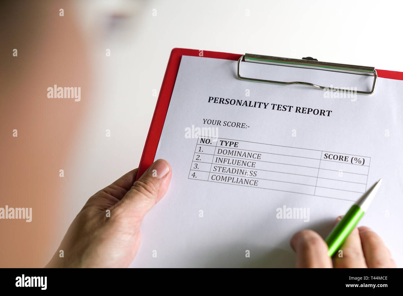 Personality test or assessment form as part of job interview