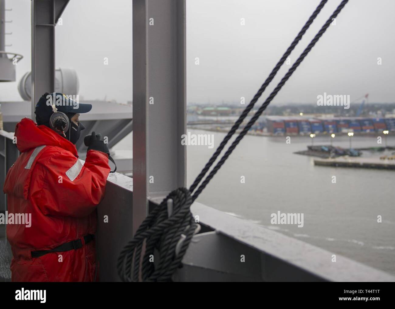 NORFOLK, Va. (Feb. 21, 2019) Operations Specialist 2nd Class Corin Colvin, from Burganfield, New Jersey, stands watch aboard the aircraft carrier USS George H.W. Bush (CVN 77). GHWB is at Norfolk Naval Shipyard undergoing a docking planned incremental availability (DPIA). - Stock Image