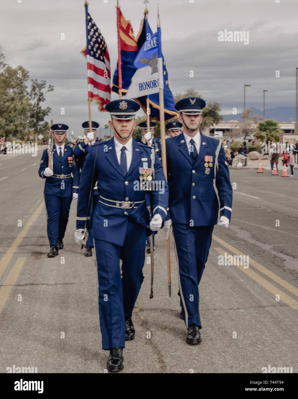 Tucson Christmas Parade 2019 The U.S. Air Force Color Guard participate in the annual rodeo