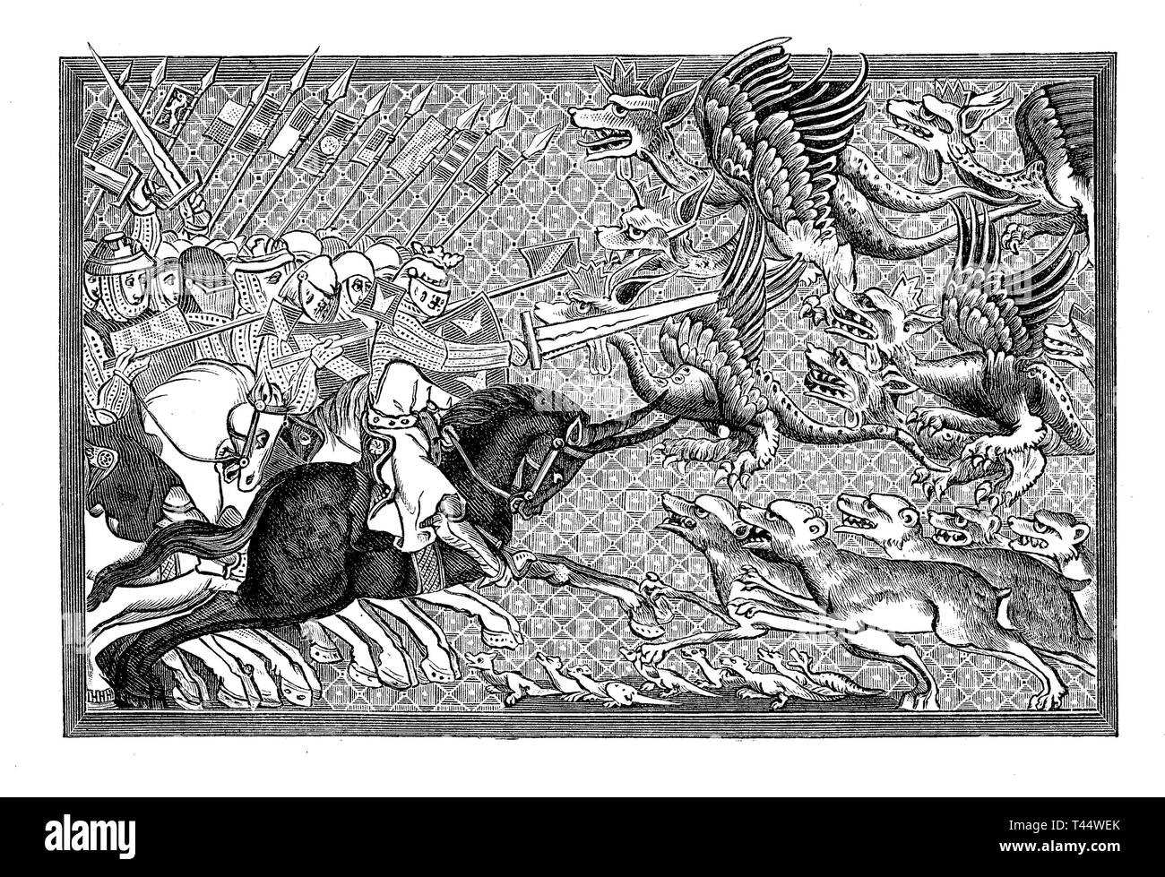 Alexander the Great in battle with dragons and other fantastic animals, after a miniature of the 13th Century Stock Photo