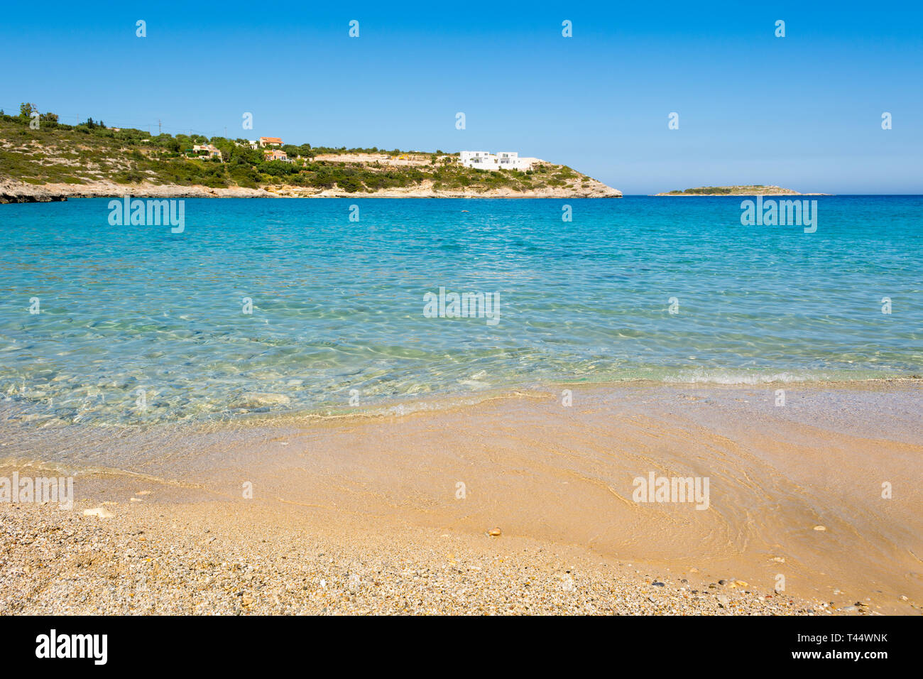 Marathi beach with fine sand and shallow calm water. West Crete, Greece - Stock Image