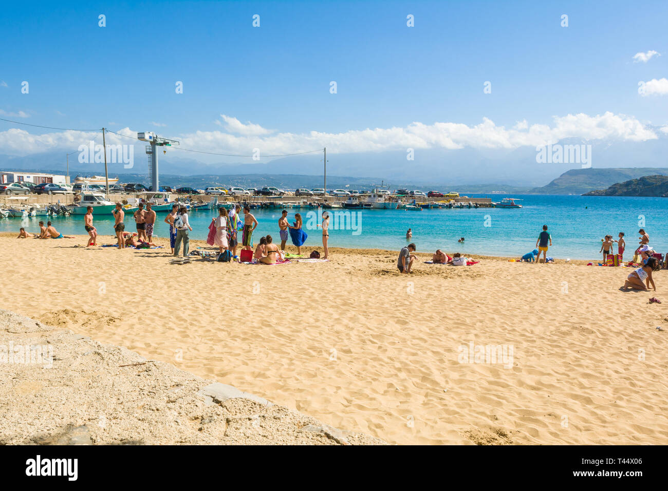 CRETE, GREECE - May 1,2015: Marathi beach with fine sand and shallow calm water. West Crete, Greece - Stock Image